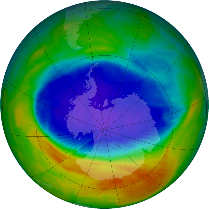 Antarctic ozone map for 09 October 2004